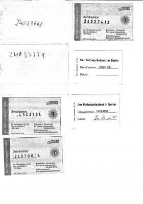 Dienstkarten der beteiligten Beamten